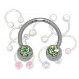 Hufeisen Piercing1.6mm mit Kristallen