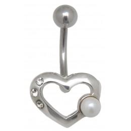 Bauchnabel Piercing mit Kunstperle und Herzdesign