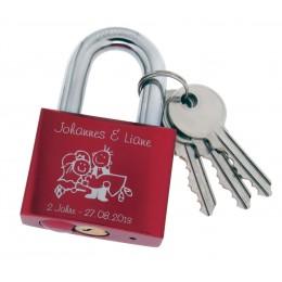 Rotes Aluminiumschloss - Liebesschloss mit Wunschgravur