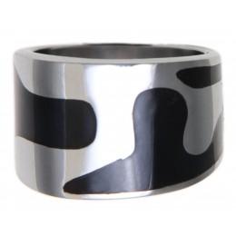 Edelstahlring im Retro Look mit schwarzem Epoxid Design