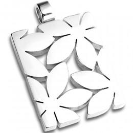 Edelstahl-Anhänger rechteckig mit ausgestanzten Blumen