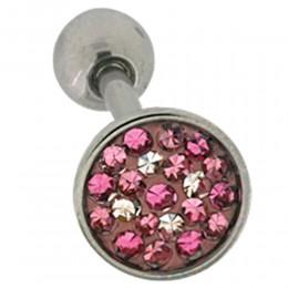 Zungenpiercing mit Kristallen 1.6x19mm mit rosa Tönen