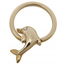 14 Karat Gold Nipple Piercing Ring Delfin mit klarem Kristall
