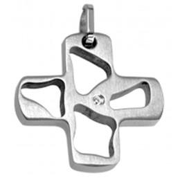 Kettenanhänger Stahl - Kreuz mit Kristall