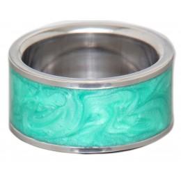 Stahlring mit farbigem marmorierten Einsatz