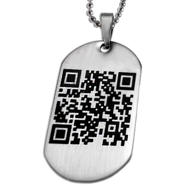 Dog tag stahlanhanger mit personlichen qr code las dogmf qr for Qr code dog tag