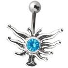 Bauchnabel Piercing mit Silberdesign und Kristall