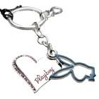 Playboy-Schlüsselanhänger mit zwei Anhängern - Herz und Playboyhase