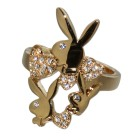 Playboy Fingerring vergoldet Design 3 Hasen mit Kristallen