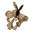 Playboy Fingerring vergoldet Design 3 Hasen mit Kristallen