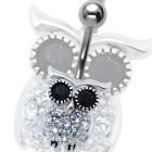 Piercing Bauchnabel Eule,  Motiv 925 Sterling Silber