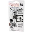 """Chinesisches Horoskopzeichen """"Schwein"""", Zinn, Kordel&Karte"""