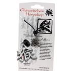 """Chinesisches Horoskopzeichen """"Affe"""", Zinn, Kordel&Karte"""