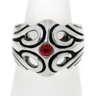 Schwerer Ring aus 925 Sterling Silber, mit Kristall
