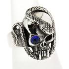 Schwerer Ring aus 925 Sterling Silber, oxidiert. Motiv Totenkopf mit Schlange