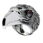 Massiver Ring aus 925 Sterling Silber, Motiv Raubvogel, oxidiert