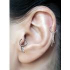 Tragus- oder Helix-Piercing 925 Sterling Silber Motiv mit 316L Ring