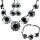 SET: Collier, Armband und Ohrringe mit schwarzen Achat Kugeln