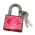 2. Wahl Aluminiumschloss rot - Liebesschloss mit Wunschgravur 50mm