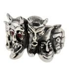 Schwerer Ring aus 925 Sterling Silber mit roten Kristallsteinen, Motiv Dämonen