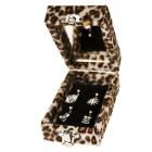 Schmuckbox für 4 Piercings mit Kunstfell bezogen Leoparden Look Spiegel innen