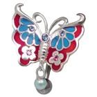 Bauchnabelstecker Schmetterling Chirurgenstahl und Silber