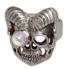 Schwerer Ring Motiv Totenkopf mit Hörnern aus 925 Sterling Silber, oxidiert