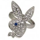 Playboy Ring grössenverstellbar Bunny blaues Glitzer-Auge