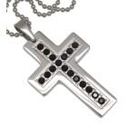 Kettenanhänger Stahl - Kreuz mit Kristallen
