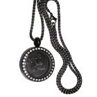 Runder Anhänger aus Edelstahl PVD schwarz mit Kristallen personalisiert