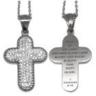 Kreuzanhänger mit Kristallen und Wunschgravur