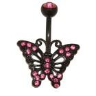 Bauchnabel Piercing Schmetterling aus PVD beschichtetem Edelstahl 1.6x10mm