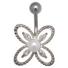Bauchnabel Piercing mit Design und einer Kunstperle und Kristallen