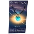 Swarowski Kristallherz mit Kordelkette und Karte - türkis