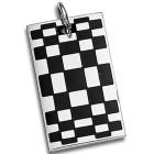 Edelstahl-Kettenanhänger mit Muster black&white auf der Vorderseite