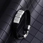 Armband aus Leder schwarz, Element aus Edelstahl mit individueller Gravur
