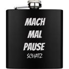 Flachmann gross aus Edelstahl schwarz PVD-beschichtet mit Ihrer Wunschgravur 169.8ml