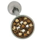 Zungenpiercing mit Kristallen 1.6mm Stärke mit brauntönen
