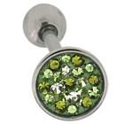 Zungenpiercing mit Kristallen in verschiedenen grün Tönen