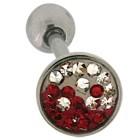 Zungenpiercing mit Kristallen aus Chirurgenstahl mit einem roten Yin Yang Muster
